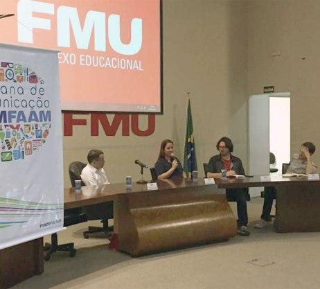 Cassiano Gobbet, Renata Rizzi, Fausto Salvadori Filho e Gustavo Ribeiro discutem jornalismo digital e modelos de negócio.