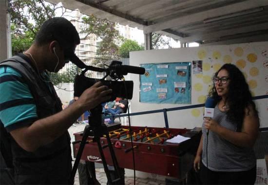 A aluna Julia Pereira participou da cobertura do evento