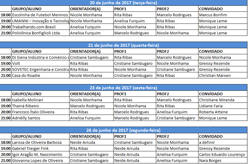 Cronograma Bancas Públicas 2017-1