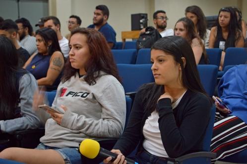 Alunas participam de debate sobre mulheres no jornalismo esportivo (crédito: Patrícia Santos )