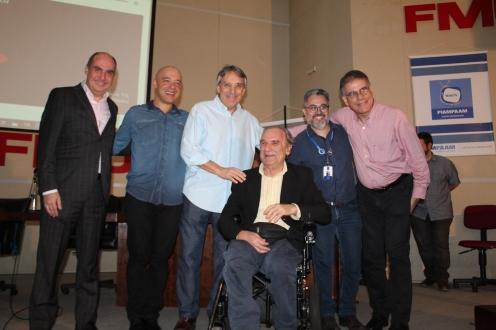 reitor, professor Henrique, Osacar Ulisse, Osmar Santo, Fernando Leme (da esquerda para direita) (crédito: Laura Yoko)
